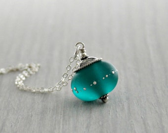 Teal Glass and Sterling Silver Pendant Necklace, Handmade Glass, Gift for Her, Handmade Glass Jewelry, Rustic, Orb