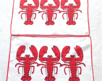 2 Linen Placemats Red Lobsters by Kreier