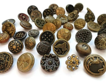 Antique Victorian Metal Button Grab Bag - 6 Randomly Selected Vintage 1800s From Our Stash for Jewely Steampunk Costumes