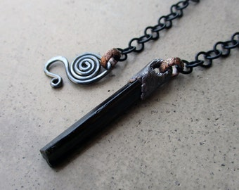 Pendulum Necklace with Black Tourmaline Wand, Dowsing Tool, Higher Power, Bridge to Intuition, Ancient Wisdom, Protective Crystal Amulet