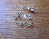 Sterling Silver Amethyst, Peridot, Quartz connectors, Garnet and Quartz single earring