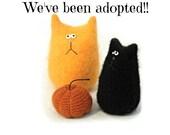 Reserved for Courtney - Stuffed Cat Dolls - Halloween Tiny Cat - Halloween Trio - Black Cat - Soft Halloween Decor - Cashmere Mini Pumpkin