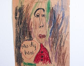 Vintage Portrait of Modigliani / 1960's Child's Art / Folk Art