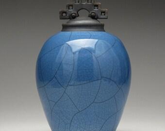 Ceramic lidded jar,urn, blue and black Raku Jar with lid,large urn, large jar, art pottery,wheel thrown,handmade