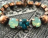 Swarovski Crystal Bracelet  Blue Zircon Chrysolite Opal  Rhinestone Tennis Bracelet, Big Stone Looks, Rhinestone Bracelet, Green Copper