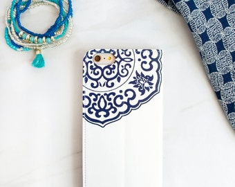 Blue and White Wallet Phone Case Resort Wear, iPhone 6S Plus Mediterranean Womens Folio - Porcelain Inspired