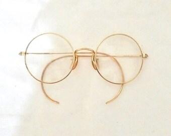 Big Round Janis Joplin 60s Eyeglasses Frame John Lennon True Vintage Gold Tone Adult Size Hippy P3 Spectacles. Steampunk. USA. Harry Potter.