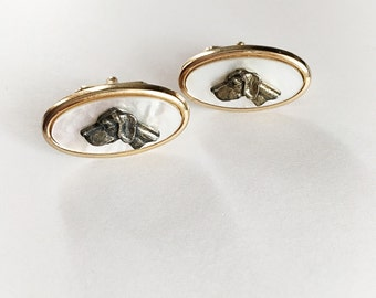 Vintage Mother Of Pearl Anson Dog Cuff Links
