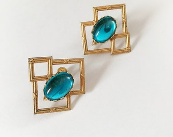 Vintage Miriam Haskell Earrings Gold Tone Metal and Blue Glass Cabochon Stone Clip On Screw Back Combo