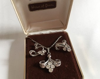 Vintage Sorrento Sterling Silver and Rhinestone Necklace and Screw Back Earrings Jewelry Set