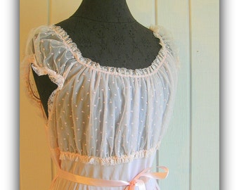 Vintage Sheer Romantic Pink Nightgown