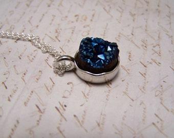 Navy Blue Druzy Necklace. Druzy Agate Quartz. Simple. Minimalist. Midnight Blue