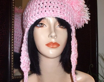 Crochet Helmet Hat with Earflaps and Pom-Poms, Winter Hat, 3 Pom Pom Hat, PINK WHITE MIX