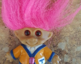 Baby Vintage troll with long pink hair, small vintage troll, super cute, by Styx on Etsy