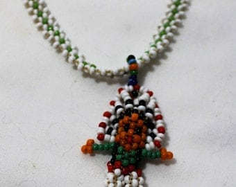 Vintage Seed Bead Indian Chief 23 Inch Necklace