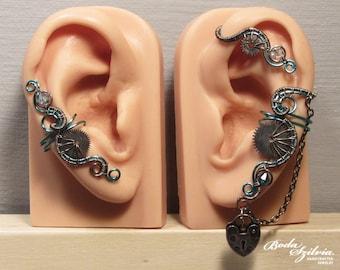 frost steampunk EAR WRAP and ear cuff SET - wire wrapped ear cuff, gear ear cuff, gear jewelry, steampunk jewelry, no piercing ear cuff