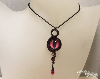 black and red DRAGON EYE NECKLACE - eye pendant, evil eye jewelry, eye necklace, steampunk jewelry, gothic jewelry, victorian pendant