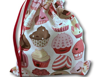 Cupcakes - Solo Sheepie, a Project Bag for Knitting, Embroidery, or Crochet