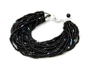 Multi Strand STATEMENT Beaded Bracelet Jet Black Rainbow Shimmer Beads Exotic Goddess High Fashion Jewelry Adjustable Size by Mei Faith
