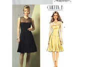 Womens Dress Pattern Butterick 4852 Fitted Evening Dress Poof Skirt Party Dress Sheer Top Prom Womens Sewing Pattern Size 14 to 20 UNCUT