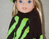 "Jacket Hat Scarf for 14"" Wellie Wishers or Melissa & Doug Doll Clothes green Zebra tkct965"