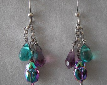 Earrings with Swarovski Scarab Beads and Crystal Drops on Sterling Silver Chain