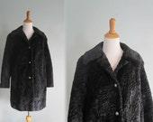 Vintage 1960s Coat - Faux Black Persian Lamb Coat with Silver Buttons - 60s Faux Fur Coat by Susan Lynn M L