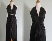 Vintage Sexy Black Disco Halter Dress - 70s Black Dress Climax by David Howard - Vintage 1970s Dress XS S