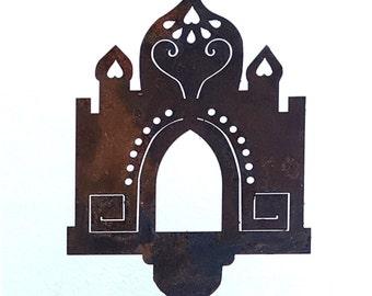Taj Mahal -Temple- Metal Garden Art Stake-