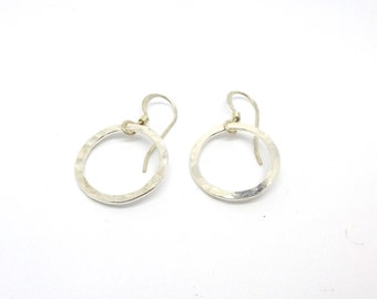 Simple Hammered Sterling Silver Circle Earrings