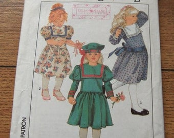 vintage 80s simplicity pattern 8818 girls childs dress and hat sz 5
