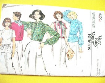 Vogue 9200 1970s Secretary Blouse Sewing Pattern:Loose-fitting blouse jewel neckline, standing collar Vintage Sewing Pattern Bust 32