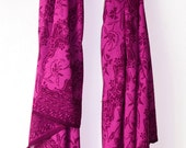 Magenta Chiffon Scarf Women Clothing Fashion Accessory Batik Scarf Luscious Purple Scarf Long Scarf Super Soft Scarf Sarong - Gift for Her