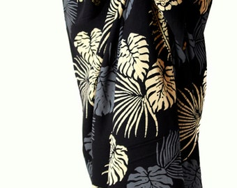 Beach Sarong Pareo Tropical Leaf Sarong - Men's or Women's Clothing -  Hawaiian Sarong Surf Clothes  -Batik Pareo - Beach Cover up