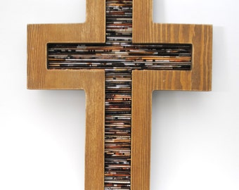 Cross - made from wood & recycled magazines,brown,neutral, tan, religious, cross, Baptism, home decor, interior design