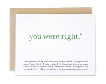 Printable / Funny Greeting Card / You Were Right