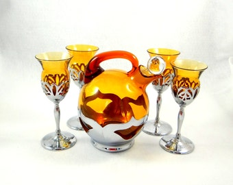 Chrome and Amber Glass Decanter and Cocktail Glasses, Mid Century, Farber Brothers