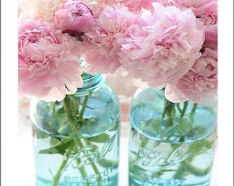 Pink Peony Prints, Shabby Chic Decor, Pink Aqua Peonies Wall Art Prints, Pink Peony Photos, Peony Prints, Pink Peonies Mason Jars Wall Decor