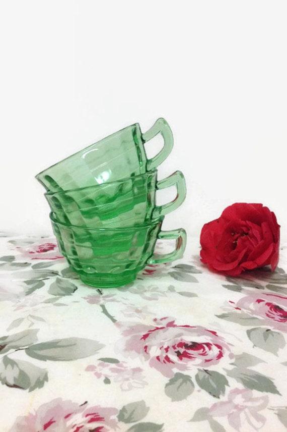 Green Depression Glass - Block Optic Tea Cups - Hocking - Set of Three