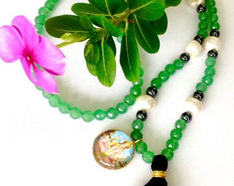 Lakshmi Necklace with Green Aventurine  crystals for wealth and fortune, Hindu Necklace, yoga necklace, new age jewelry,