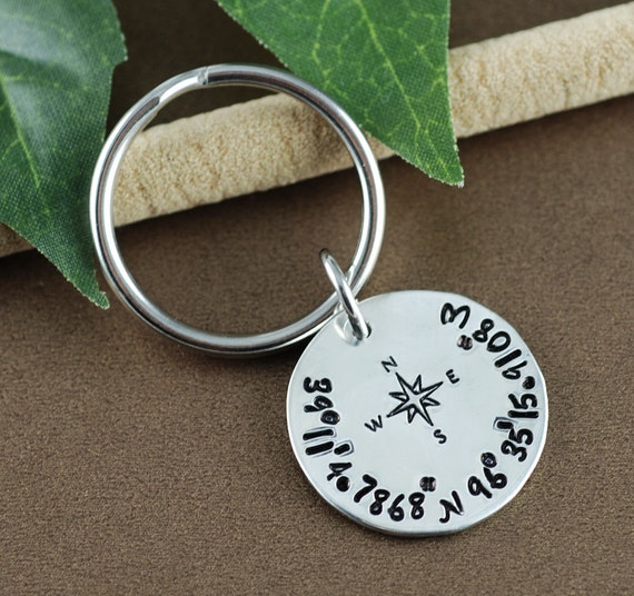 Coordinate Keychain | Longitutde Latitude Keychain | GPS Coordinate Key Chain | Men's Anniversary Gift | Personalized Gift for Him