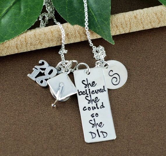 She believed she could so She Did Necklace   Graduation Gift Necklace   Personalized Inspiration Necklace   Gift for Graduate   Initial