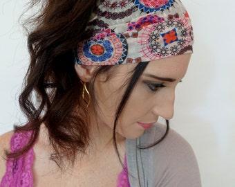 Wide Headband Stretchy Silk Cotton Head Wrap Vibrant Paisley Head Wrap Yoga HeadBand Pink Orange Brown Cream Turband Hair Wrap