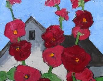 ORIGINAL Impressionist Painting Hollyhock Cottage Landscape 11x14 Lynne French