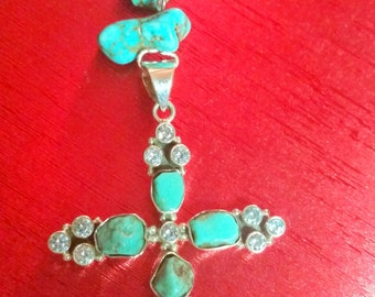 Turquoise and  Blue Topaz Cross Necklace