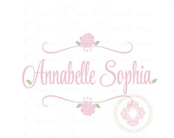 ON SALE Flower Name Wall Decal for Baby Girl or Teen - Small to Large Size Monogram Vinyl Wall Decal FN0511