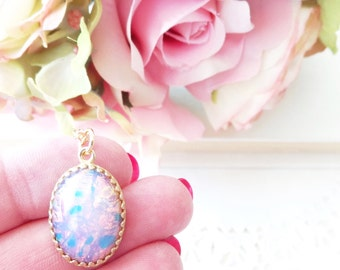 Pink Fire Opal Necklace - Gold Crown Opal - Birthstone Locket Necklace - Keepsake - October Birthday Gift - Fire Opal Necklace