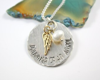 Daughter Of An Angel Necklace - Silver Loss Necklace - Silver Angel Necklace - Loss Of Father Necklace - Loss of Mother Necklace - Parents