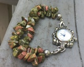 Watch, natural stone, bracelet watch, bohemian watch, bohemian bracelet watch