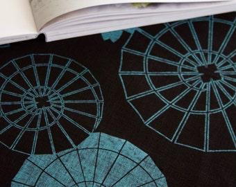 Japanese Umbrella Teal on Black Linen Tea Towel